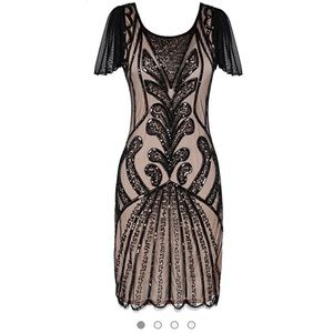Dresses & Skirts - Black & nude-pink lace, bead flapper/gatsby dress